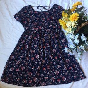 Old Navy Blue Floral Empire Waist Dress